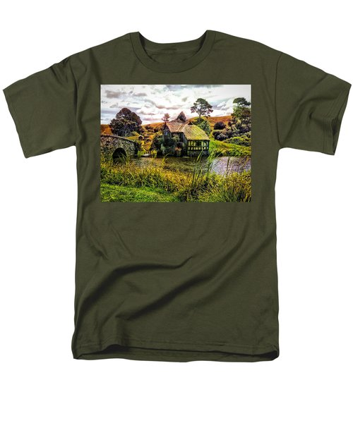 Men's T-Shirt  (Regular Fit) featuring the photograph Hobbiton Mill And Bridge by Kathy Kelly