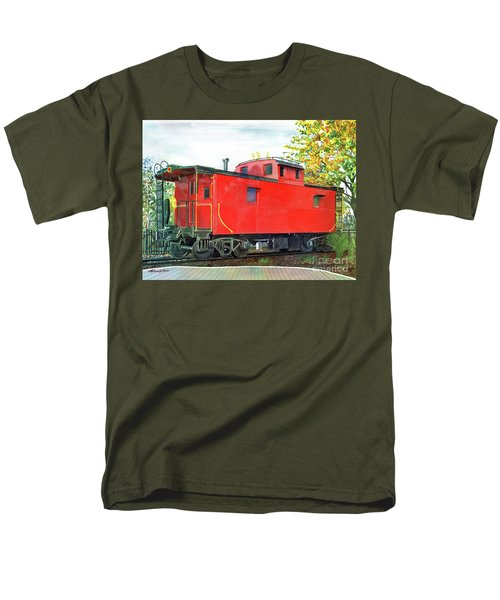 Men's T-Shirt  (Regular Fit) featuring the painting Holland Michigan Caboose by LeAnne Sowa