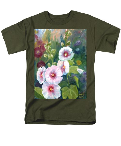 Men's T-Shirt  (Regular Fit) featuring the painting Hollyhocks by Renate Nadi Wesley