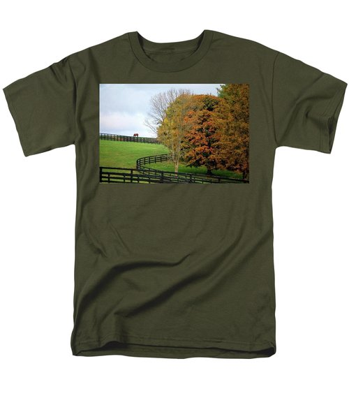 Men's T-Shirt  (Regular Fit) featuring the photograph Horse Farm Country In The Fall by Sumoflam Photography