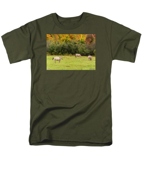 Horses Enjoying A Beautiful Autumn Day Men's T-Shirt  (Regular Fit) by Ken Morris