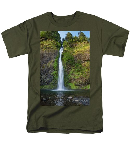 Men's T-Shirt  (Regular Fit) featuring the photograph Horsetail Falls In Spring by Greg Nyquist
