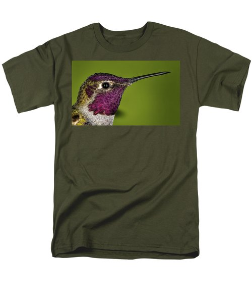 Men's T-Shirt  (Regular Fit) featuring the photograph Hummingbird Head Shot With Raindrops by William Lee