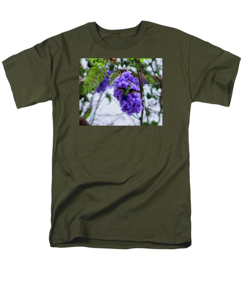 Hummingbird In A Jacaranda Tree Men's T-Shirt  (Regular Fit) by John  Kolenberg