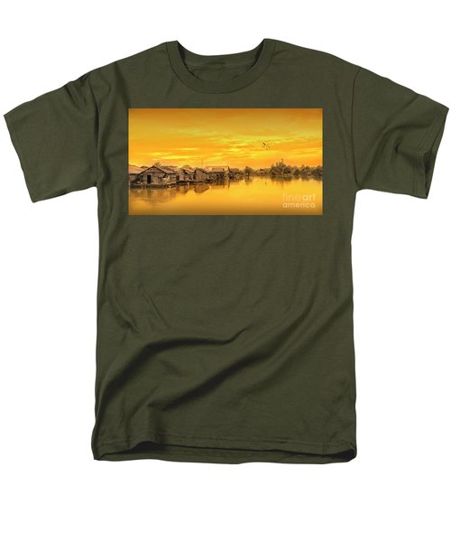Men's T-Shirt  (Regular Fit) featuring the photograph Huts Yellow by Charuhas Images