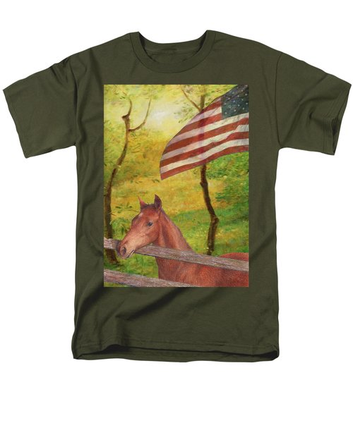 Illustrated Horse In Golden Meadow Men's T-Shirt  (Regular Fit) by Judith Cheng