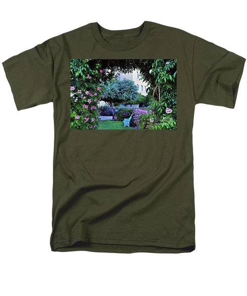 In The Garden At Mount Zion Hotel  Men's T-Shirt  (Regular Fit) by Lydia Holly