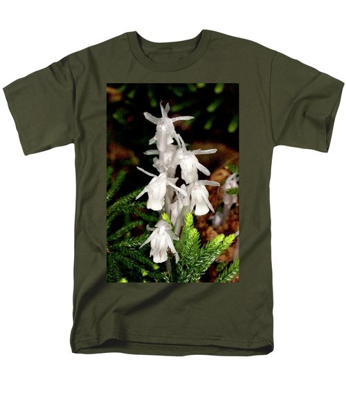 Men's T-Shirt  (Regular Fit) featuring the photograph Indian Pipes On Club Moss by Meta Gatschenberger