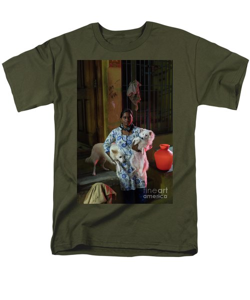 Men's T-Shirt  (Regular Fit) featuring the photograph Indian Woman And Her Dogs by Mike Reid