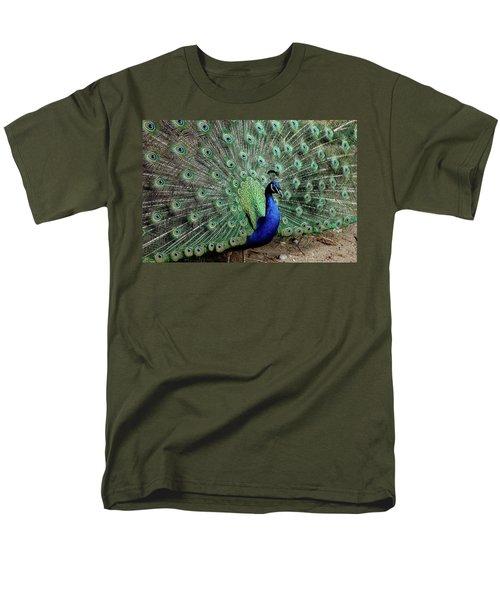 Iridescent Blue-green Peacock Men's T-Shirt  (Regular Fit) by LeeAnn McLaneGoetz McLaneGoetzStudioLLCcom