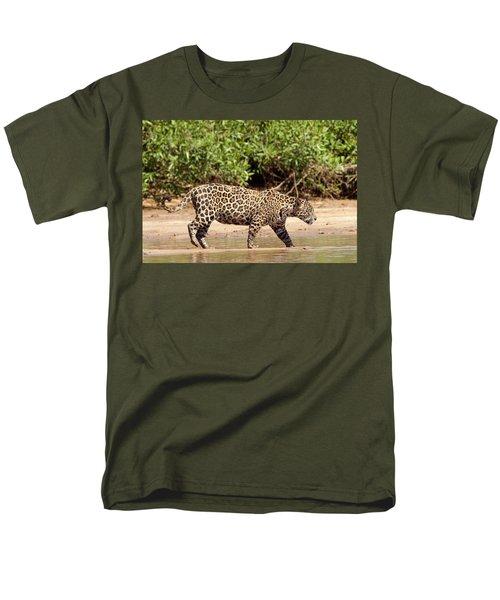 Jaguar Walking On A River Bank Men's T-Shirt  (Regular Fit) by Aivar Mikko