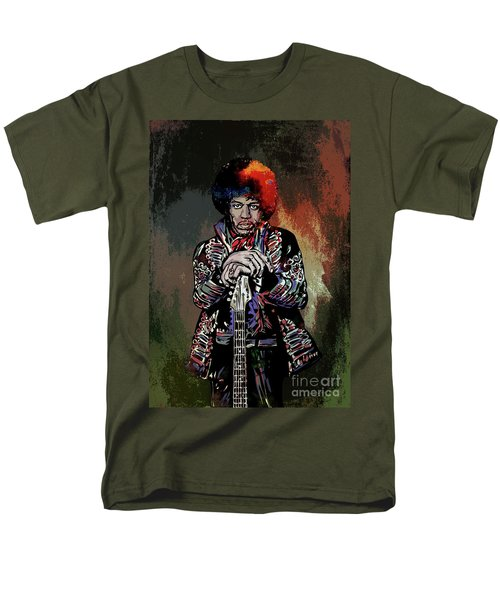 Men's T-Shirt  (Regular Fit) featuring the painting Jimi  by Andrzej Szczerski