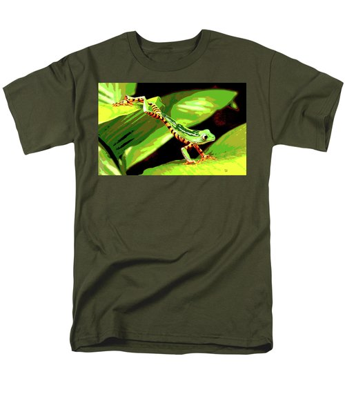 Men's T-Shirt  (Regular Fit) featuring the mixed media Jumping Frog by Charles Shoup