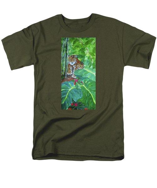 Men's T-Shirt  (Regular Fit) featuring the painting Jungle Jaguar by Ellen Levinson