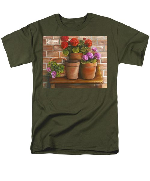 Men's T-Shirt  (Regular Fit) featuring the painting Just Geraniums by Marlene Book