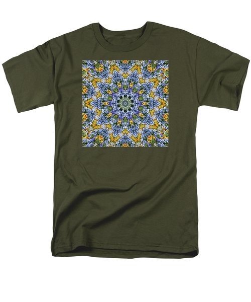 Kaleidoscope - Blue And Yellow Men's T-Shirt  (Regular Fit) by Nikolyn McDonald