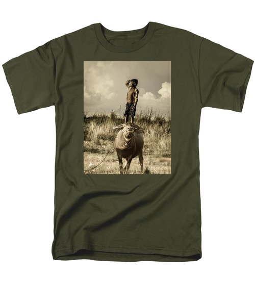 Men's T-Shirt  (Regular Fit) featuring the photograph Kid And Cow by Arik S Mintorogo
