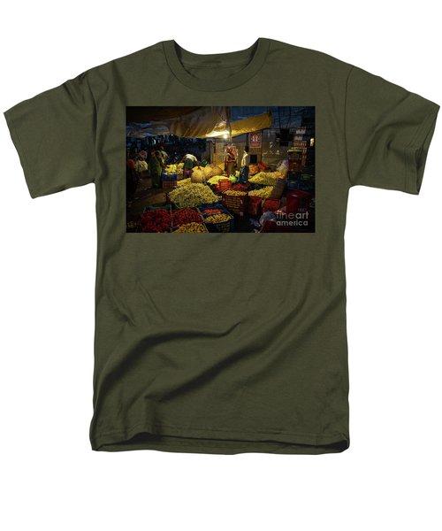 Men's T-Shirt  (Regular Fit) featuring the photograph Koyambedu Chennai Flower Market Predawn by Mike Reid
