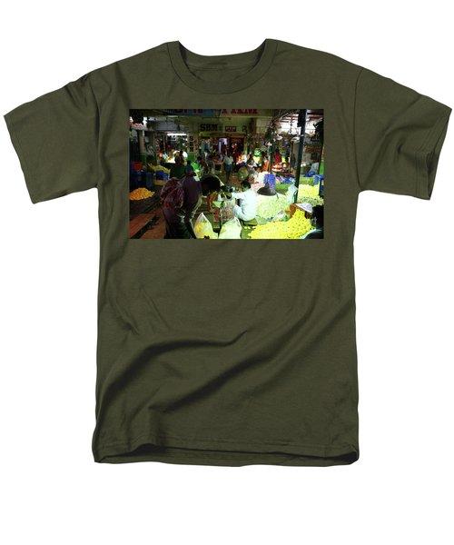 Men's T-Shirt  (Regular Fit) featuring the photograph Koyambedu Flower Market Stalls by Mike Reid