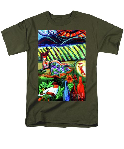 Men's T-Shirt  (Regular Fit) featuring the painting Lady And The Grapes by Genevieve Esson