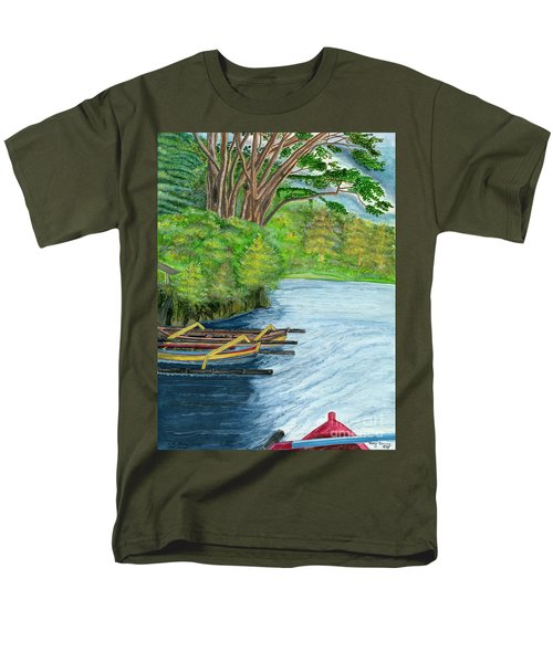 Men's T-Shirt  (Regular Fit) featuring the painting Lake Bratan Boats Bali Indonesia by Melly Terpening