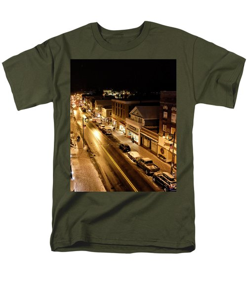 Men's T-Shirt  (Regular Fit) featuring the photograph Lake Placid New York - Main Street by Brendan Reals
