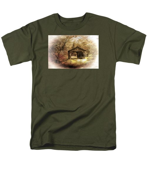 Men's T-Shirt  (Regular Fit) featuring the photograph Lamplighter Covered Bridge by Judy  Johnson