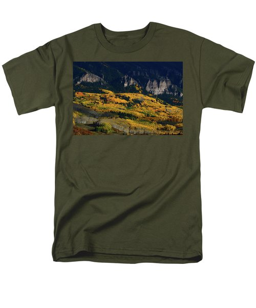 Men's T-Shirt  (Regular Fit) featuring the photograph Late Afternoon Light On Aspen Groves At Silver Jack Colorado by Jetson Nguyen