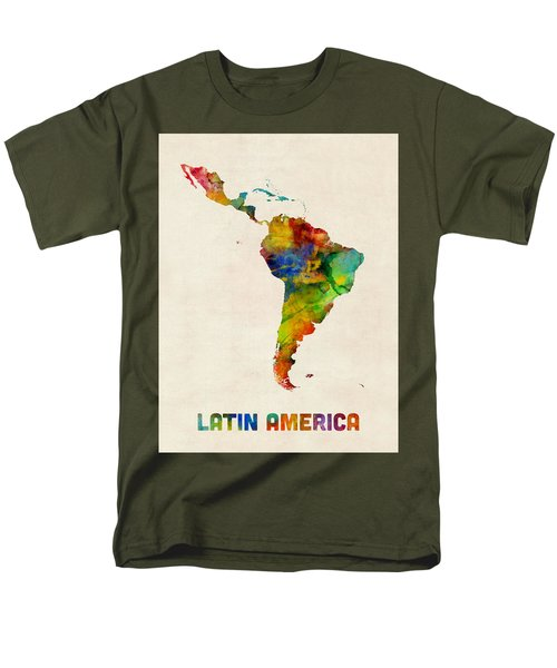Men's T-Shirt  (Regular Fit) featuring the digital art Latin America Watercolor Map by Michael Tompsett
