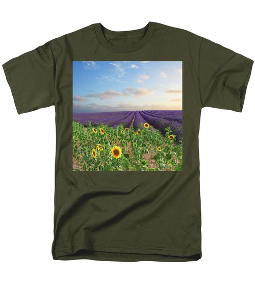 Lavender And Sunflower Flowers Field Men's T-Shirt  (Regular Fit) by Anastasy Yarmolovich