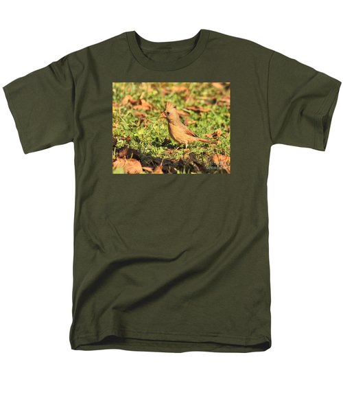 Leafy Cardinal Men's T-Shirt  (Regular Fit) by Debbie Stahre