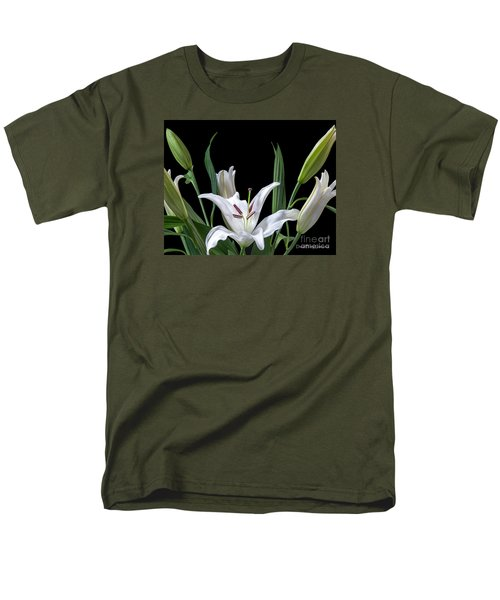 A White Oriental Lily Surrounded Men's T-Shirt  (Regular Fit) by David Perry Lawrence