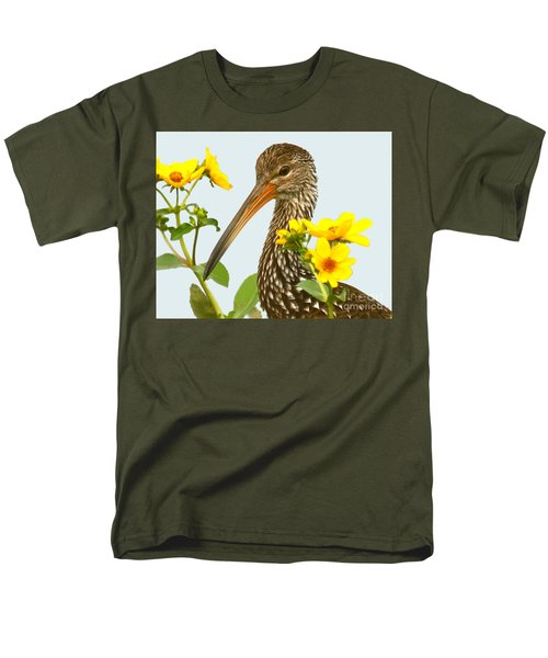 Men's T-Shirt  (Regular Fit) featuring the photograph Limpkin In The Flowers by Myrna Bradshaw
