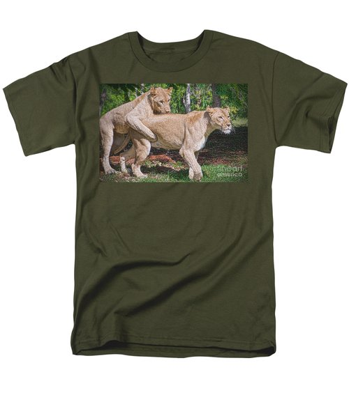 Men's T-Shirt  (Regular Fit) featuring the painting Lion Backer by Judy Kay