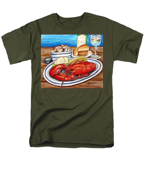 Men's T-Shirt  (Regular Fit) featuring the pastel Lobster Dinner by Patricia L Davidson