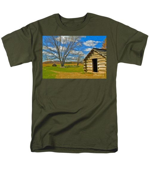 Men's T-Shirt  (Regular Fit) featuring the photograph Log Cabin Valley Forge Pa by David Zanzinger