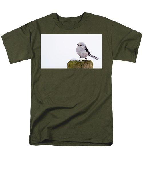 Men's T-Shirt  (Regular Fit) featuring the photograph Long-tailed Tit On The Pole by Torbjorn Swenelius