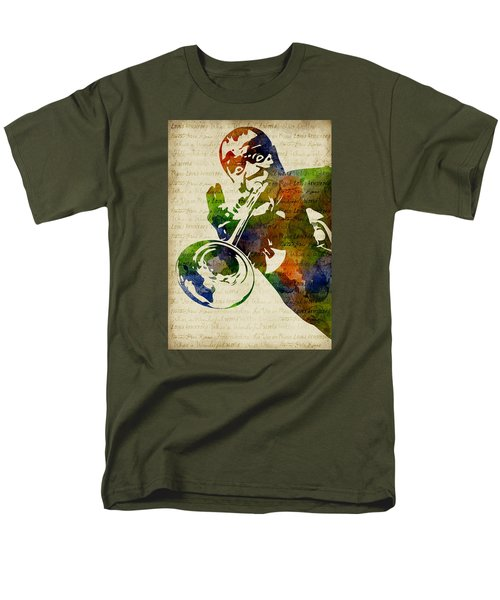 Louis Armstrong Watercolor Men's T-Shirt  (Regular Fit) by Mihaela Pater