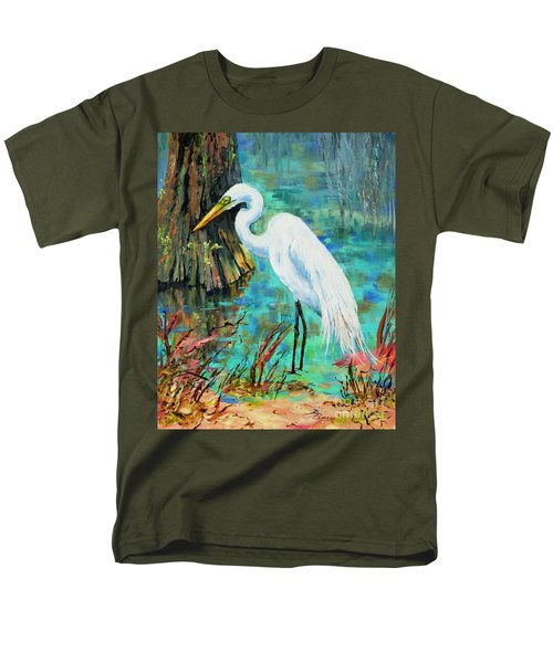 Men's T-Shirt  (Regular Fit) featuring the painting Louisiana Male Egret by Dianne Parks