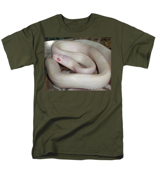 Luna White Snake Men's T-Shirt  (Regular Fit) by Patricia McNaught Foster