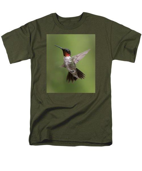 Male Ruby Throated Hummingbird Men's T-Shirt  (Regular Fit) by David Lester