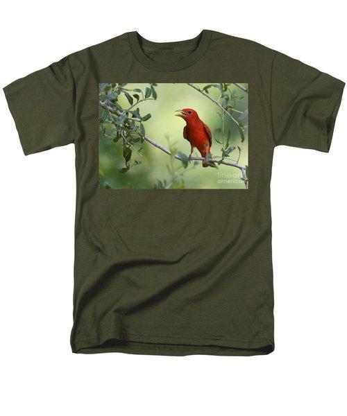 Male Summer Tanager Men's T-Shirt  (Regular Fit) by Myrna Bradshaw