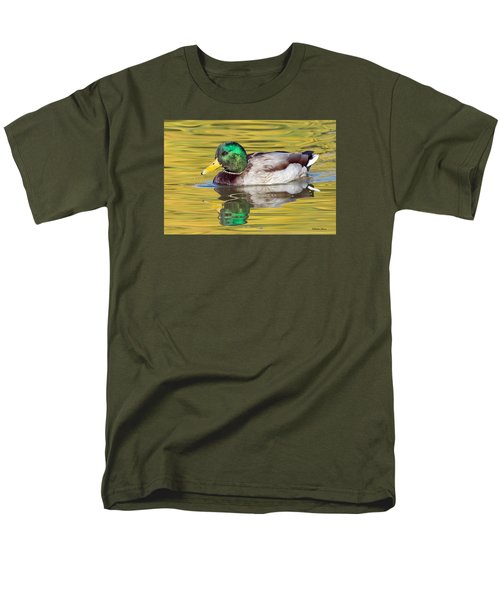 Mallard Drake On Golden Pond Men's T-Shirt  (Regular Fit) by Stephen  Johnson