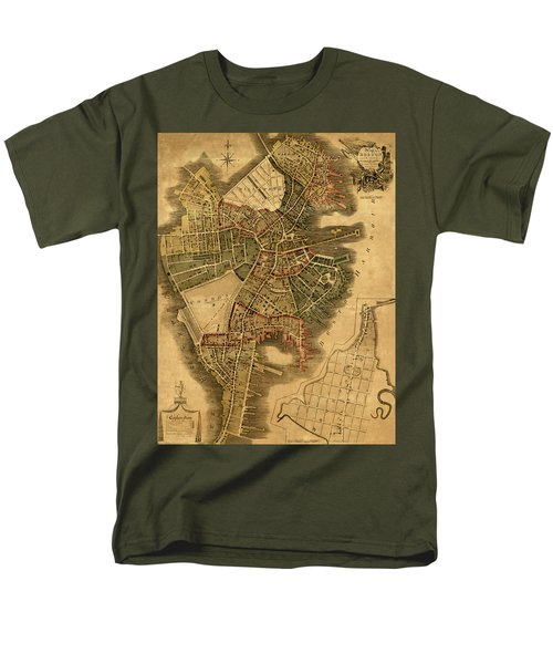 Map Of Boston 1814 Men's T-Shirt  (Regular Fit) by Andrew Fare
