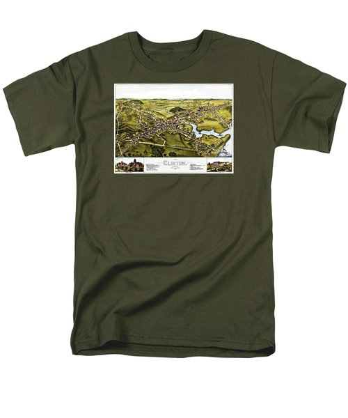 Map Of Clinton Connecticut 1881 Men's T-Shirt  (Regular Fit) by Phil Cardamone