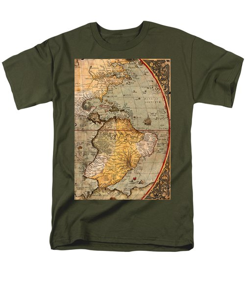 Map Of The Americas 1570 Men's T-Shirt  (Regular Fit) by Andrew Fare