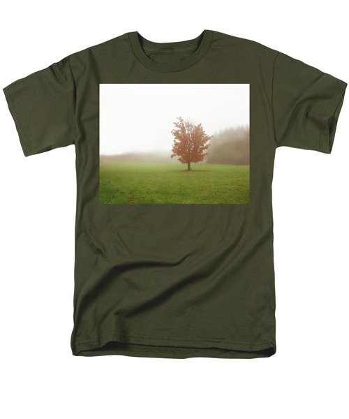 Men's T-Shirt  (Regular Fit) featuring the photograph Maple Tree In Fog With Fall Colors  by Brooke T Ryan