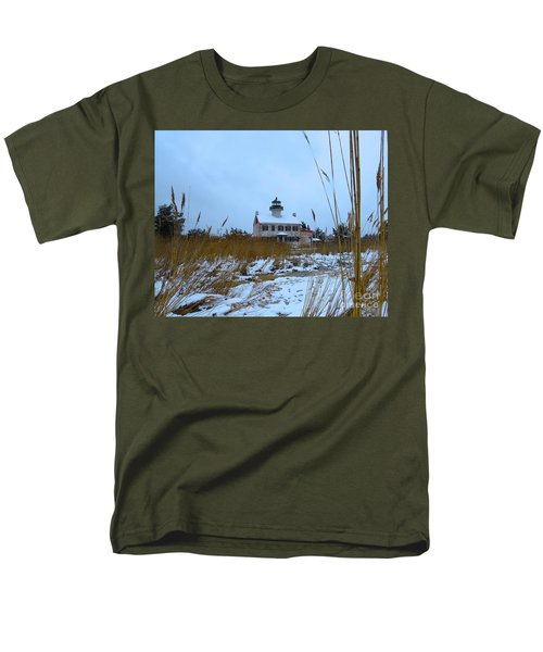 Men's T-Shirt  (Regular Fit) featuring the photograph March Snow At East Point Lighthouse by Nancy Patterson
