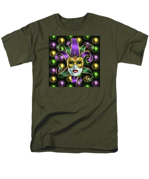 Mardi Gras Mask And Beads Men's T-Shirt  (Regular Fit) by Gary Crockett