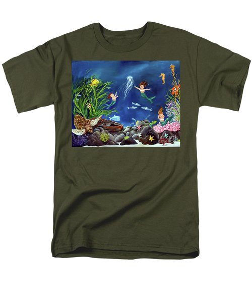 Men's T-Shirt  (Regular Fit) featuring the painting Mermaid Recess by Carol Sweetwood